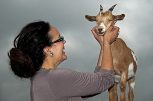 Rebecca Andersson with goat